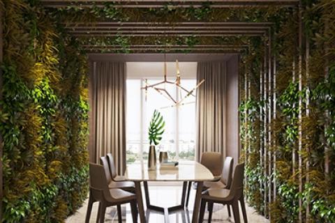 Phong cách thiết kế nội thất hiện đại kết hợp cây xanh